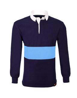 Navy Fully Reversible School Rugby Shirt Sky Blue Stripe